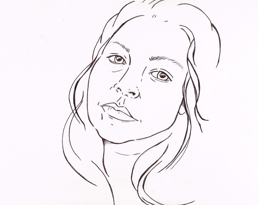 Line drawing of a woman's face