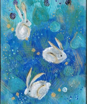 Painting of 3 white rabbits on a blue background