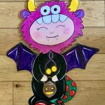 Door hanger for halloween  - cute child with turnip lantern