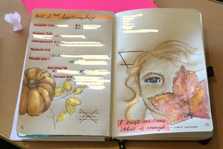 Journal with weekly plan and drawing - a pumpkin ad a girl with face obscured by leaf