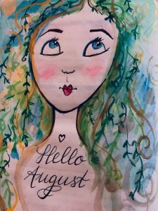 """Painting in a Betty Boop style of a girls face with """"Hello August"""" written below."""