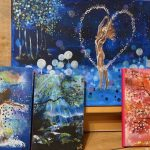4 paintings , two figurative , naked ladies dancing, tow of trees