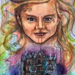 Painting of a girl with celtic markings on her face with a castle below her.