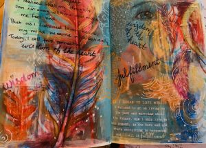 Photo of a bullet journal spread with an abstract painting of feathers.