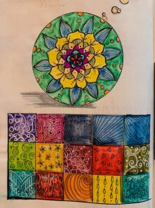 Photo of a vividly coloured doodle.