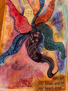 Painting of an abstract, vividly coloured starfish.