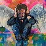 Colourful painting of man with angel wings, crouching down with hand on head in despair