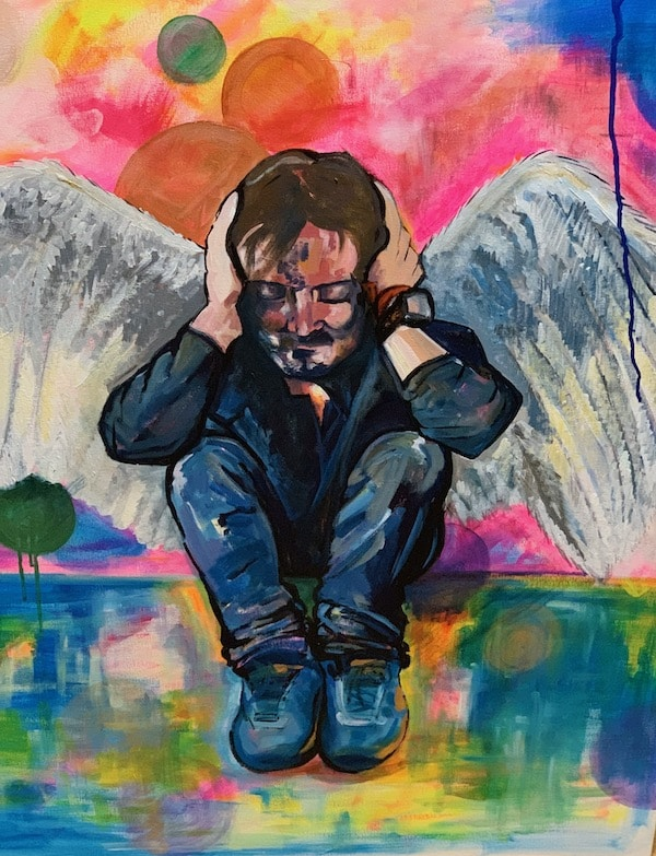 Acryllic Painting of Tony Gadd, in angel form
