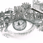 Drawing of large eye with buildings / icons from Durham City around it