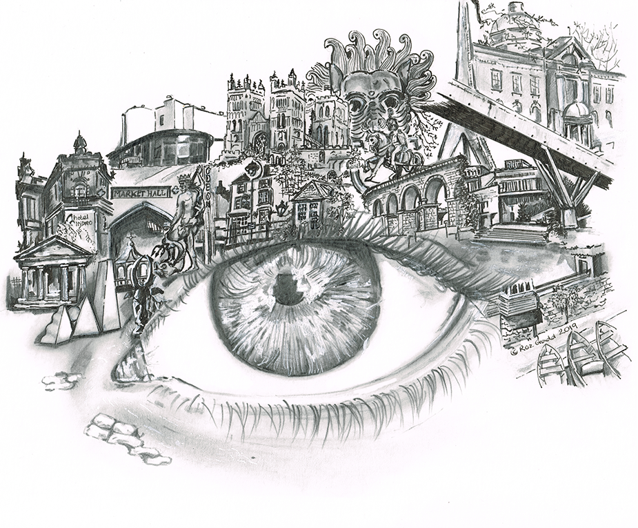 Durham Eye in ink and pencil