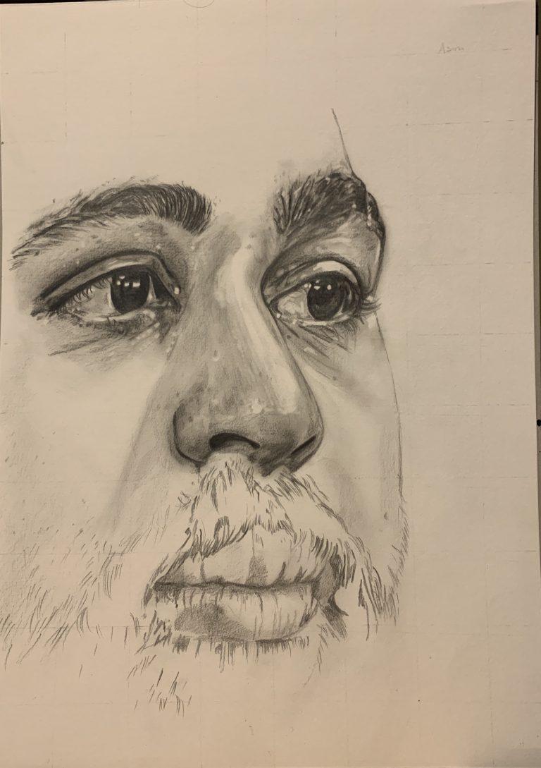 pencil sketch of Asim Chaudhry
