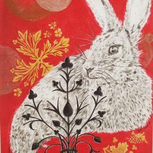 pencil drawinfof rabbit with Putin designs painted