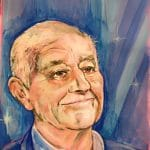 blue background, acrylic portrait of Len Goodman