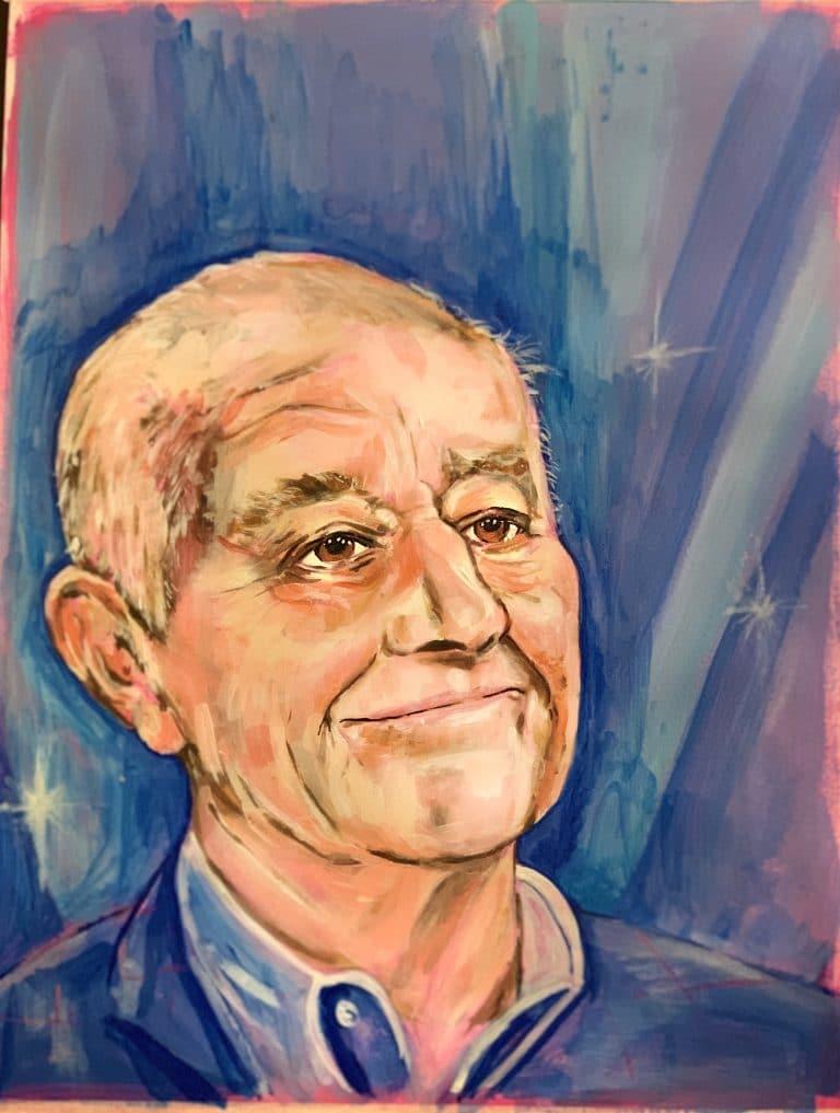 blue background, acrylic portrait of Len Goodman