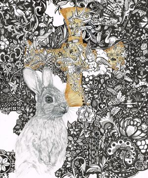 Graphite and ink drawing of a rabbit with a gold cross behind them, surrounded by detailed ink drawings of nature.