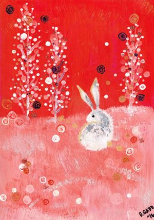 With rabbit in field. Three trees. Swirls. Red background