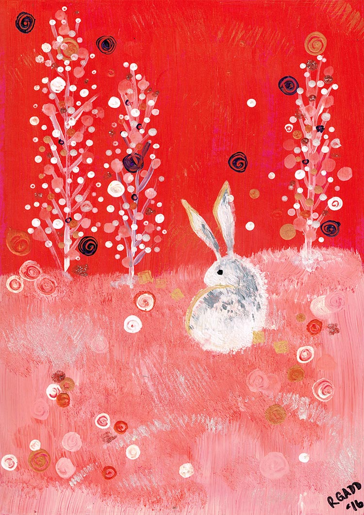 Acrylic rabbit on red background