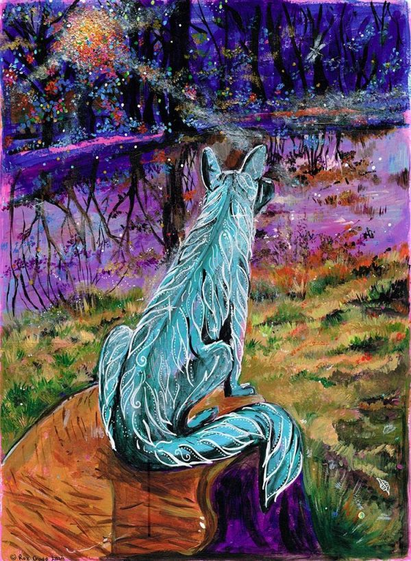 Vividly coloured painting of a fox stood on top of a tree stump at twilight.