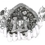 Graphite drawing of a pair of hands holding things of note to Ushaw College in Durham