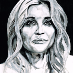Back and white painting of lady with long hair