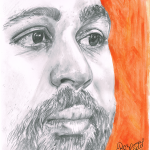 Close up of man face, with beard on orange background