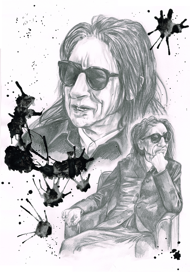 Portrait of Dr John Cooper-Clarke Pencil and water colour