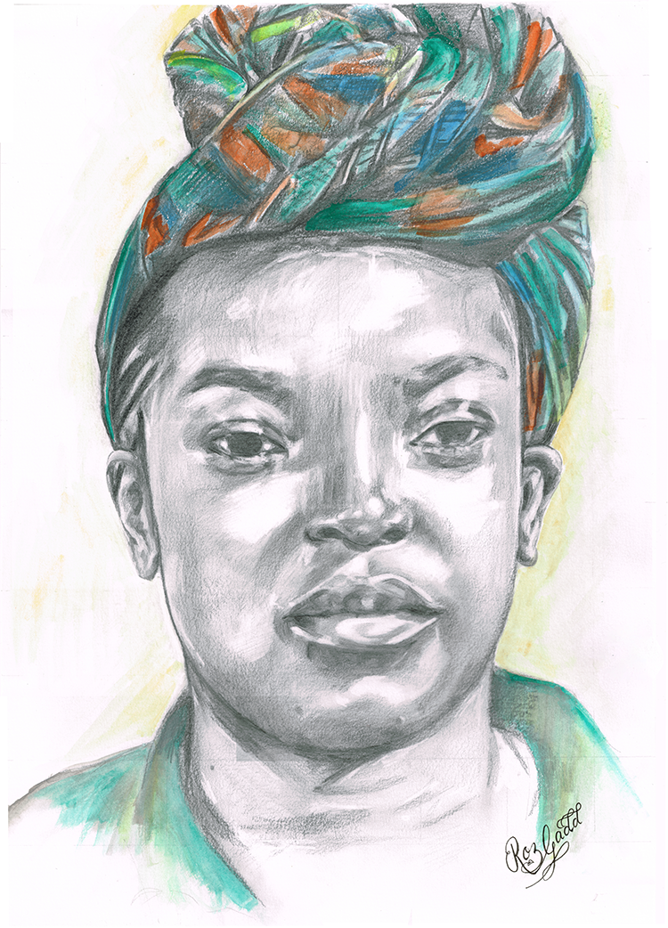 Portrait of lady wearing colourful headscarf in knot