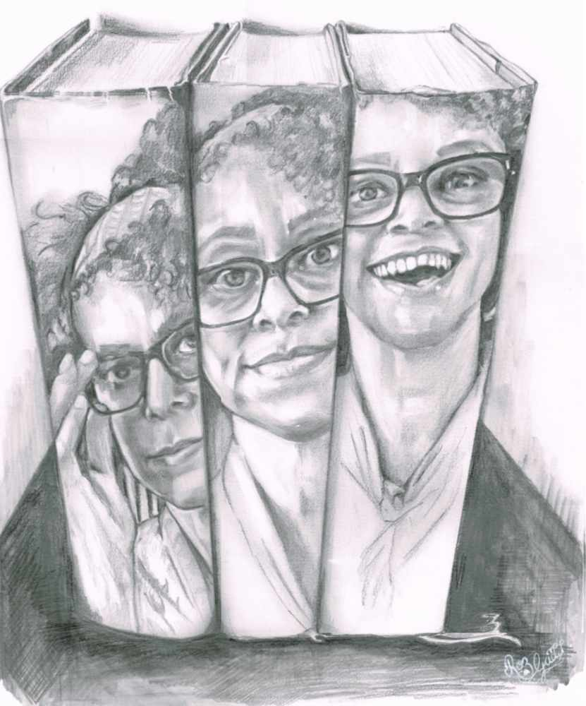 Portrait of same lady on the spinoff three books. She is wearing glasses. Laft, the is holding glasses, middle looking at viewer, right she is laughing