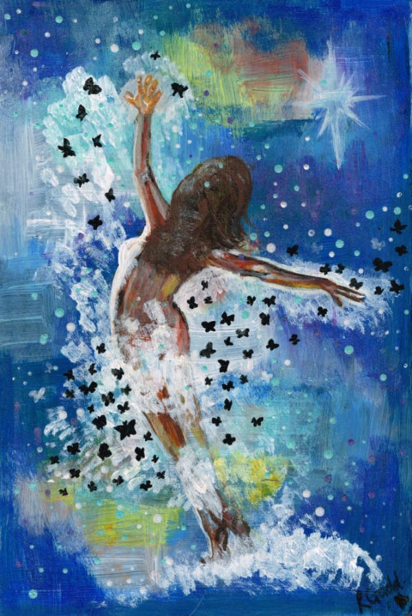 Naked lady with back to viewer, dancing surrounded by black butterflies and magical background mostly blue