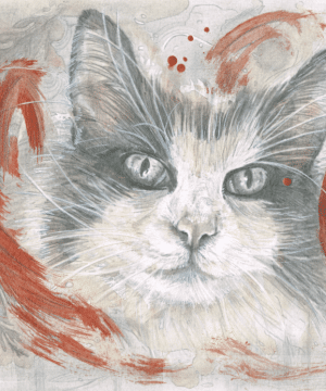 Graphite drawing of a Norwegian Forest Cat's face surrounded by an abstract interpretation of an Acer bush in bronze.