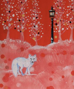 Painting of white fox and lamppost on snowy scenary , mostly red