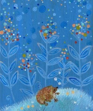 Hedgehog with large plants on blue background