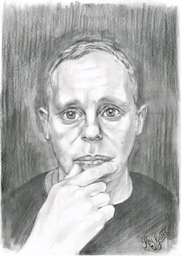 Portrait of man with half to his mouth
