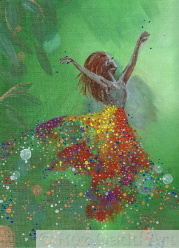 Green background with lady dancing in skirt made of multicoloured dots