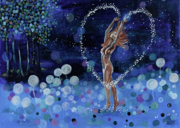 Naked lady dancing in moon shine , with magical heart coming out of her hands