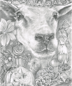 Graphite drawing of a sheep's face surrounded by varous nature related things.