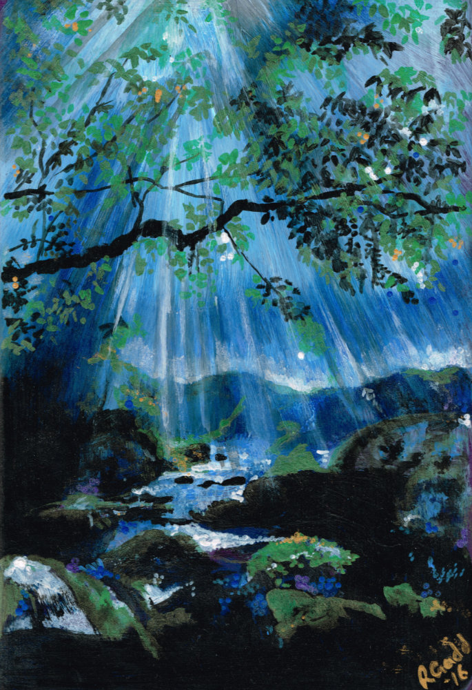 Tree and stream at night with moon shine through clouds