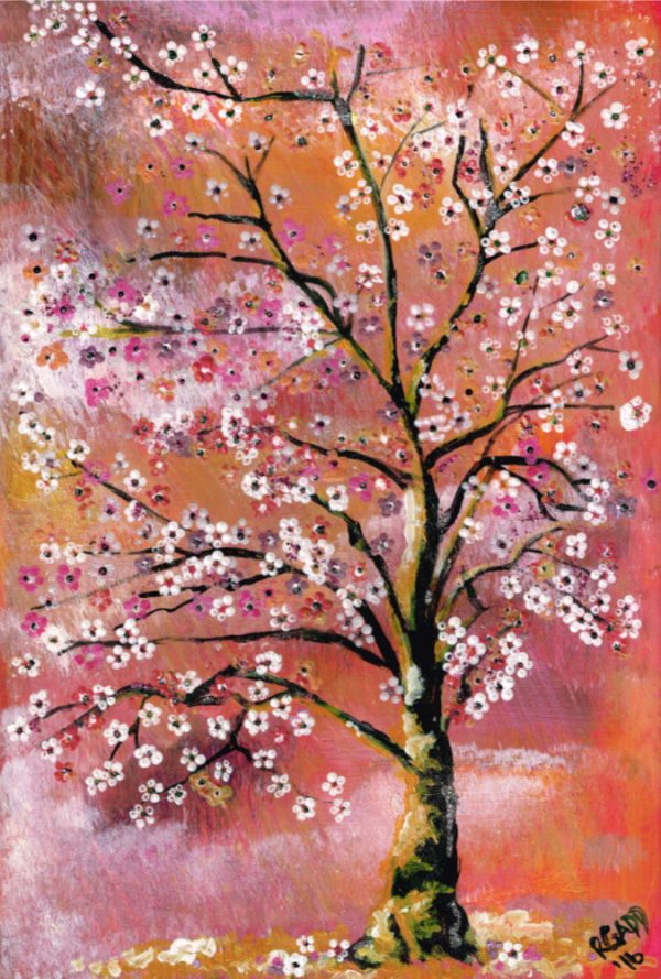 White and pink cherry blossom tree in a pink and orange background