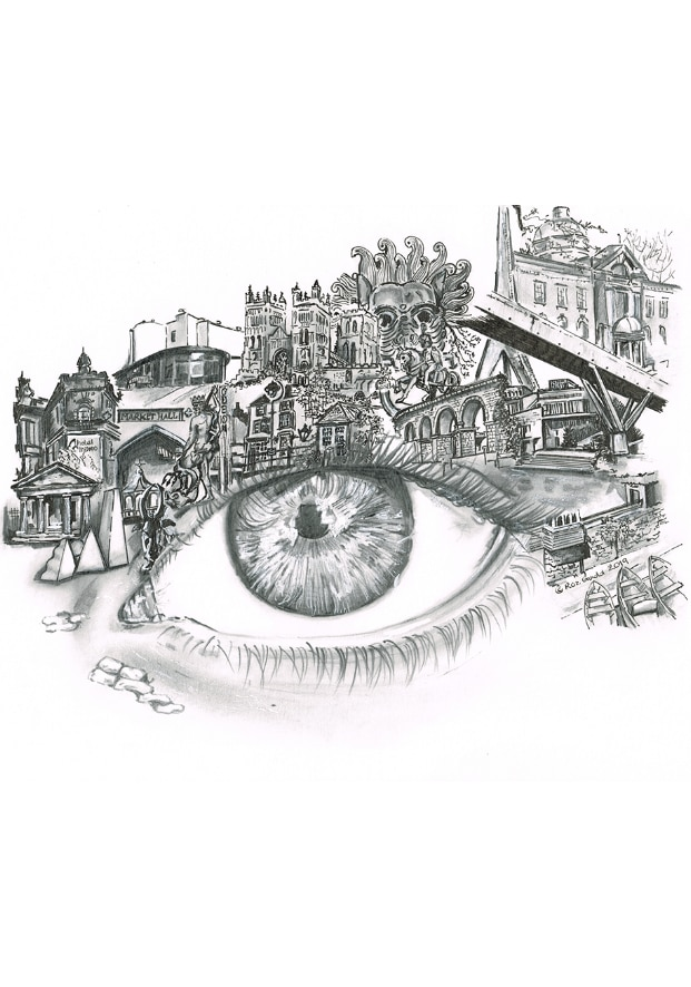 Graphite and ink drawing of an eye surrounded by various landmarks that are important to the history of Durham city, including the cathedral, and market hall.