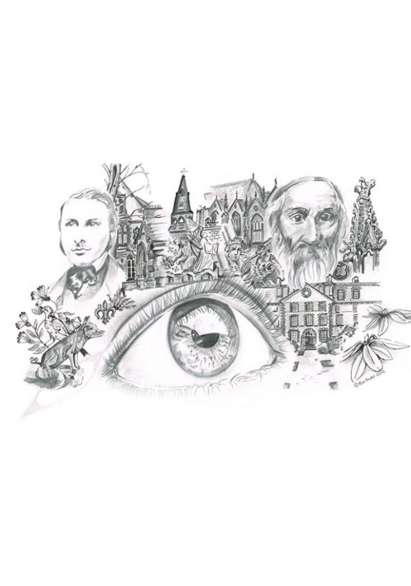 Graphite and ink drawing of an eye surrounded by things of importance to Ushaw College in Durham,