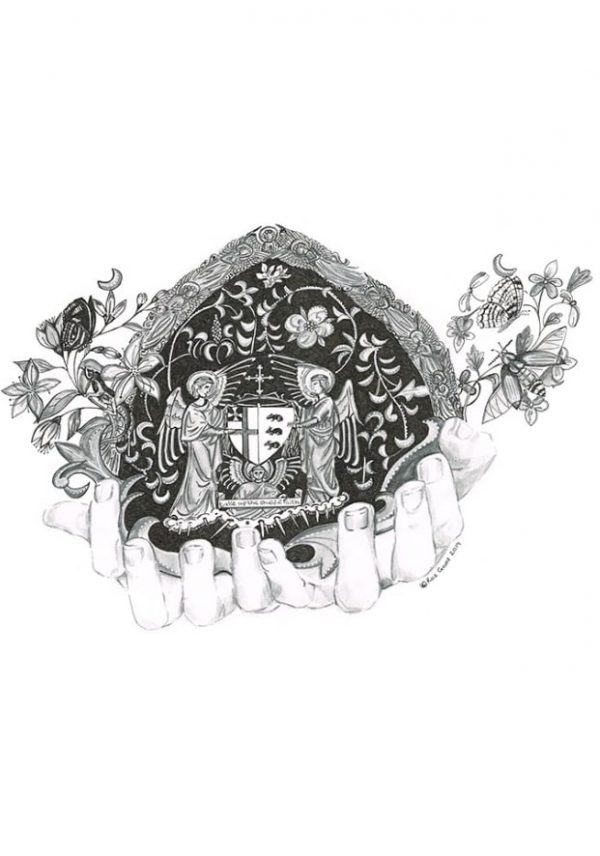 Graphite and ink drawing of a pair of hands cupping wildlife and statues of importance to Ushaw College