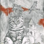 Graphite drawing of a striped cat sitting down with a crooked cottage balancing on its head. Around a cat there is various bits of wildlife such as a snail, and a mouse.