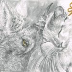 Graphite drawing of a cat and a goat rubbing their heads together with a celtic symbol in the corner.