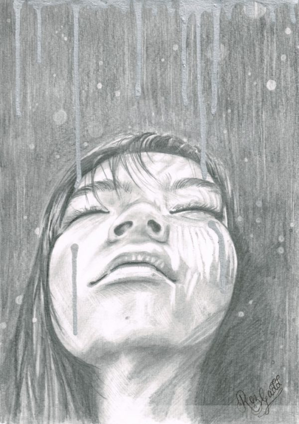 Graphite drawing of a woman looking upwards with her eyes shut. There is rain pouring down around her.