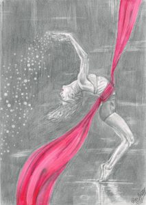 Graphite drawing of a lady bending backwards with a pink scarf around her waist, floating around her as she moves.