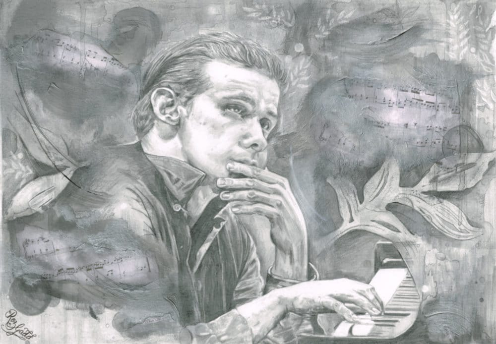 Graphite drawing of a man with his left hand on his mouth, and his right hand on a piano. There is some music tablature behind him.
