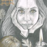 Graphite drawing of a woman cupping her face with her hands looking right at us. She has celtic markings on her face.