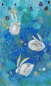 Painting of a blue background with 3 white rabbits