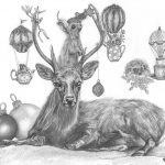 Christmas card design for 2020 with a deer lying on the ground ssurrounded by baubles, and various cute animals, teapots and teacups.